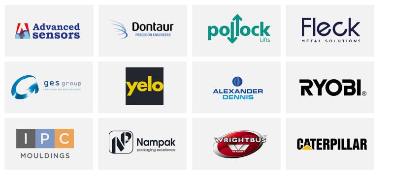 Advanced Sensors. Dontaur, Pollock Lifts, PAC Group, IPC Mouldings, Nampack Plastics, Wrightbus, Caterpillar, GES Group, Yelo, Alexander Dinnis & Ryobi logos